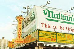 Nathan's Coney Island (alanabramsphotography) Tags: nyc color slr film brooklyn 35mm canon coneyisland eos gold kodak scanner 200 mermaid mermaidparade nathans gold200 colorfilm filmscanner 1n f135 pakon