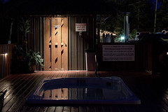quiet lilac hot tub (Justin van Damme) Tags: summer hot resort manitoba hut tub tiki