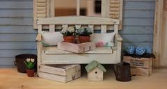 Myrna's Porch (*Joyful Girl ♥ Gypsy Heart *) Tags: flowers blue bench miniature doll cottage porch etsy 112 dollhouse shabby joyfulgirlgypsyheart