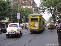 Taxi & Tram - Kolkata West Bengal India (WanderingPhotosPJB) Tags: india westbengal kolkata taxi tram img