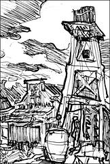 Water Tower at Goldfield Ghost Town (Kerry Niemann) Tags: watertower inkdrawing apachejunction goldfieldghosttown