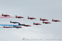 Red Arrows with Team Leaders (JaffaPix .... +2.5 million views, thanks!) Tags: airplane hawk aircraft tiger aeroplane airshow f5 raf albatross freccetricolori ffd fairford l39 riat breitling royalinternationalairtattoo royalairforce italianairforce alphajet patrouilledefrance f5e raffairford mb339 formationflying displayteam flyingdisplay egva aeromachi itaf jaffapix patrouilledeswiss riat2014 davejefferys