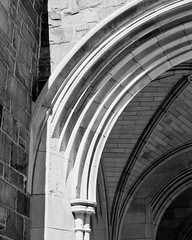 Archway 1 (Randy Stankey) Tags: usa pa erie churchofthecovenant paabstractarchitecturefilmblack whitefujineopanxtolt whitefujineopanxtoltraditionalchurcharchwayentrancestone