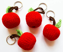 Apple Keyrings (crafty Kath) Tags: apple handmade teacher knitted keyrings