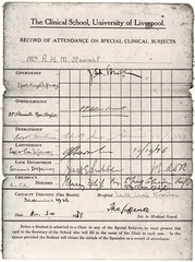 University of Liverpool Medical School attendance card, 1938 (liverpoolhls) Tags: school history liverpool 1938 medical card medicine attendance