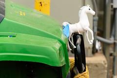 horse tractor green ornament hood johndeere