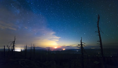 Sugarloaf Lookout (Frank O Cone) Tags: trees night stars fire glow lookout sugarloaf milkyway