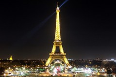 Searchlight Over Paris (crashcalloway) Tags: eiffeltower searchlight trocadero lights litup night nighttime champdemars paris france