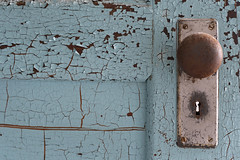 W State Hospital (Jonnie Lynn Lace) Tags: abandoned abandonedamerica america american blue red rust ruins texture detail door doorway doorknob derelict decay peelingpaint peeling cracks keyhole modenruins wood nikkor nikon d750 50mm interior indoors inside hospital statehospital massachusetts ma newengland light day bright winter february old westborough colorful colour metal madeofmetal time digital flickr usa
