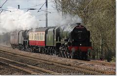 46100 'ROYAL SCOT' and Black 5 45407 work north through Huntingdon on 5Z60, March 21st 2017 b (Bristol RE) Tags: royalscot black5 46100 6152 45407 huntingdon 5z60 460 stanier fowler ivatt lms br britishrailways