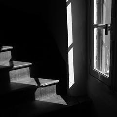 Zigzagging fragments of light (DSC01452) (Pieter Berkhout) Tags: pieterberkhout lightfall light windowlight stairs fragments shadows