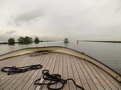 IJmeer (~Ingeborg~) Tags: meinge amsterdam ijmeer boot boat withgg water dek deck lijnen lines scheepstouw shiprope wolken clouds bomen trees cold koud cosy gezellig rainy regen