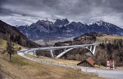 Bridge over troubled water (PeterThoeny) Tags: pfäfers valenz stgallen switzerland alps swissalps bridge construction bridgeconstruction day cloud cloudy outdoor landscape road 3xp raw nex6 photomatix selp1650 hdr qualityhdr qualityhdrphotography tamina taminagorge gorge taminabrücke taminabridge fav200 mountain