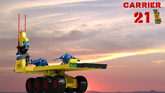 Land Carrier 21 (David Roberts 01341) Tags: lego ldd povray microscale space scifi mobilebase vehicle 8x8 cargo spaceship