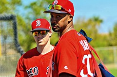 Brock Holt and Chris Young at Red Sox Spring Training (forestforthetress) Tags: baseball man color outdoor uniforms redsox boston bostonredsox springtraining jetbluepark fortmyers omot nikon florida photography