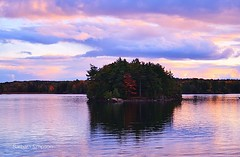 October Sunset the St. Lawrence III (barbarasimpson_photography) Tags: 1000islands stlawrenceriver jonescreek autum weekend foliage bluesky sunset pretty environment ontario canada sumac dusk trees maples colour red orange white green purple lavender water majestic