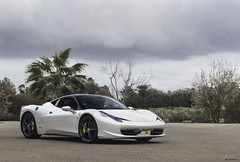 Pearl-White. (Gal cho photography) Tags: ferrari 458 italia italy expensive spac pearl white rare israel cool winter trees amazing ferrari458 gal cho chobotaro photo photograph photography canon 650d 50mm exotic supercar super car cars street meeting fast pearlwhite