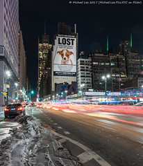 Another Lost Image (20170317-DSC08694-Edit) (Michael.Lee.Pics.NYC) Tags: newyork 8thavenue lost petshelter advertising billboard night longexposure lighttrail composite snow winter nyt newyorktimes architecture cityscape streetscene sony a7rm2 fe2470mmf28gm