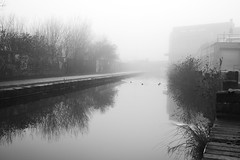 The Caldon Canal, Pelham Street, Stoke-On-Trent 30/12/2016 (Gary S. Crutchley) Tags: caldon canal stoke on trent black and white monochrome bw mono stokeontrent uk great britain england united kingdom urban nikon d800 history heritage staffordshire nikkor afs 28300mm f3556g ed vr navigation cut inland waterway fog mist