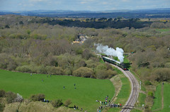 34070 from Sandy Hill Swanage Railway (davids pix) Tags: 34070 manston bulleid pacific battleofbritain preserved steam railway locomotive corfe castle swanage sandy hill 2017 02042017