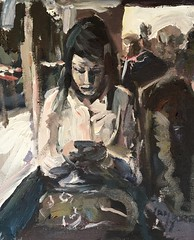 Texting on the bus (Captain Wakefield) Tags: painting art acrylic samuel burton woman expressionist reading contemporary figurative light modern semi abstract people sit sitting seated