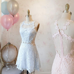 Homecoming Dress (veenrol) Tags: dress dresses lace homecoming homecomingdress girl street cute lacedress bridesmaid wedding sleeveless blue pink rose style simple
