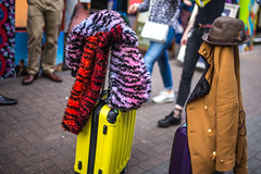 Couple with Baggage (Michael Goldrei (microsketch)) Tags: sunshine leicam street long suitcases wheeled shadows 2017 london uk couple 17 yellow photo shadow mp dusk sun man bright 240 summilux leicalovers 14 central sunny england 35 darkness 35mm hat circus soho st multicolored typ240 luggage night wheels asian shade leicacamera avril asph time coat suitcase baggage photos light oxford multicoloured after apr leicamtyp240 typ leica dark mp240 exposure photography nighttime photographer april