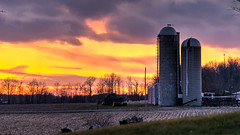 Sunset Sentinals (tquist24) Tags: goshen hdr indiana nikon nikond5300 outdoor clouds evening farm field geotagged rural sky sunset tree trees unitedstates