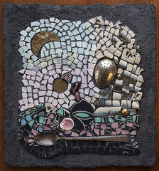 """""""A Tribute to Nick Drake"""" (Mosaic Mirm) Tags: mosaic mirm miriam sushman mixed media handmade substrate beads pottery shards shells vintage spoon coin"""