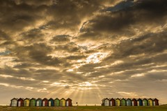 Big Sky-Small Huts (Pureo) Tags: blyth blythbeach goldenhour golden rays sunrise sunburst beachhuts leefilters canon canon6d canondslr