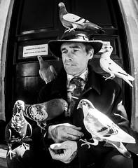 Pigeon man (Mike Thorn) Tags: pigeons pigeonman bath people portraits street monochrome hat man smoking