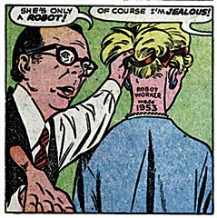 Robot outed (kevin63) Tags: lightner atomicsamba facebook comicbook panels pages fantasy sciencefiction aliens robot madscientist laboratory potion chemical woman glasses vintage old classic retro fifties worker madein1953 only blonde