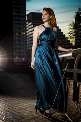 Wonder Women - Becki (4) (FightGuy Photography) Tags: becki bluedress crystalcity naturallight va strobist sword saber weapon redhead heels shoes lensflare twilight