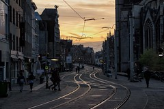 Sunset on Gent (Michael Fay) Tags: sunset tramtracks city tramlines street cataloniëstraat ghent gent