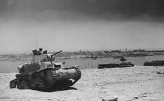 Italian Medium Tank M13/40 (Carro armato M13/40) Tobruk near the bay. Machine from the Italian 132 Panzer 'Ariete'
