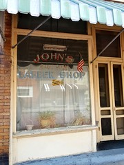 John's Sanitary Barber Shop (e r j k . a m e r j k a) Tags: signs pennsylvania barbershop storefront bottoms johns allegheny mckeesrocks wildroot firstnamebasis upperohiovalley pa51 erjkprunczyk