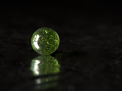 Marbles On Sea Of Tin Foil3 (AlanOrganLRPS) Tags: sphere tinfoil marble reflection green glass ball