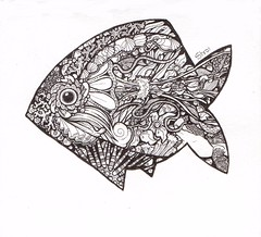 One-Fish (artyshroo) Tags: sea blackandwhite fish doodle penink shroo zentangle wwwartyshrooblogspotcouk