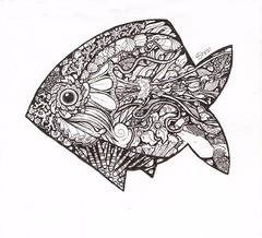 One-Fish (artyshroo) Tags: sea blackandwhite fish doodle penink shroo zentangle wwwartyshrooblogspotcouk