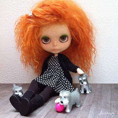 Eli (Juther) Tags: life dog pet pets color cute love dogs face animal hair bigeyes ginger carved doll dolls factory dress colorfull pastel curls faceplate hond redhead curly wig mohair pastels littlegirl blythe freckles knitted dots custom cutest cardigan blythedoll customblythe faceup blythedolls customdoll littlelady factorygirl littlemissperfect dollphotograpy dollcustom mohairwig blythecustom sleepingelf customgirl blytheaday factorycustom livingmylovelylife