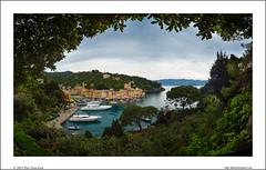 Portofino, framed (Ilan Shacham) Tags: sea italy tree leaves landscape boats coast harbor town italian riviera village view branches famous fineart rich scenic serenity frame picturesque portofino tranquile fineartphotography