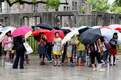 20140520-08-Visitors to Atomic Bomb Dome in Hiroshima.jpg (Roger T Wong) Tags: travel school people rain children hiroshima umbrellas 2014 atomicbombdome canon24105f4lis canonef24105mmf4lisusm canoneos6d rogertwong