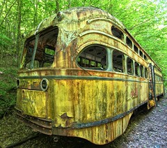 Trolley Graveyard (Forsaken Fotos) Tags: abandoned rusty forgotten crusty abandonedtrolley trolleymuseum