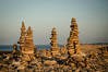 Exotic sea defences. (NSJW photos) Tags: sunset coast rocks northumberland holyisland lindisfarne rockpiles seadefences thaitemples nsjwphotos