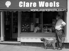 110614 (evans.photo) Tags: people bw dogs monochrome wales blackwhite candid aberystwyth ceredigion aber woolshop