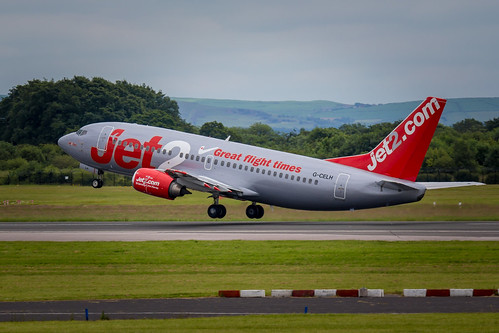 Jet2 Boeing 737 taking off at Manchester Airport