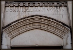 John Marshall Elementary School: Arch and Entablature--Detroit MI (pinehurst19475) Tags: city school urban building arch michigan letters detroit elementaryschool architects dps johnmarshall publicschool schoolbuilding detroitpublicschools raisedletters johnmarshallelementaryschool johnmarshallschool nrhpnominated mcgrathdohmenandpage