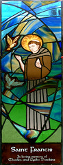 saint francis stained glass window (RDW Glass) Tags: blue green church window glass saint francis scotland glasgow stainedglass assisi