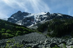 View of Stornecrop Glacier (Michael Garson) Tags: trees mountain snow canada mountains tree nature rock forest hiking hike glacier backpack joffrelakes joffrelake backbacking joffrelakesprovincialpark