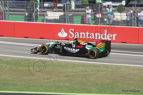 Sergio Perez in his Force India in Free Practice 2 at the 2014 German Grand Prix